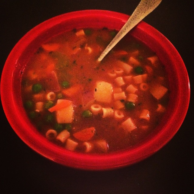 First home cooked vegan meal - the alphabet soup from 'Isa does it'